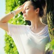 Clear skin lady among the greenery — Stock Photo #29754153