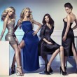 Fashion picture of four attractive female models — Foto de Stock