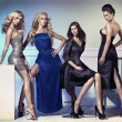 Fashion picture of four attractive female models — Stockfoto