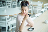 Clear skin lady at the coffee break — Stock Photo
