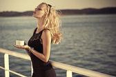 Sensual blonde girl with sunglasses — Stock Photo