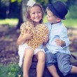 Portrait of cute couple of small children — Stockfoto