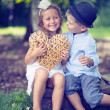 Portrait of cute couple of small children — Stock fotografie