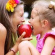 Stock Photo: Sweet red apple being bitten by sisters