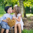 Fine picture of two cute kids kissing each other — Stock Photo