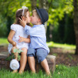 Cute couple of children kissing each other — Photo