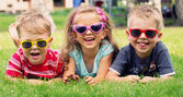 Funny picture of three playing kids — Foto de Stock