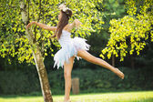 Picture presenting cute dancing young nymph — Stockfoto