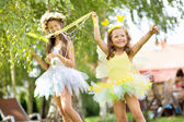 Two cute young sisters as the ballet dancers — Stock Photo