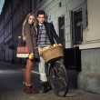 Young couple in the old town — Stock Photo