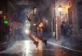 Grerat portrait of jumping joyful girl — Stock Photo