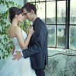 Picture presenting cute wedding couple — Stockfoto