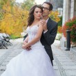 Aluring bride with her handsome bridegroom — Stock Photo