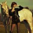 Stock Photo: Redhead lady with majestic horse