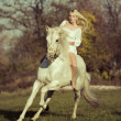White angel riding a pure white horse — Foto de Stock
