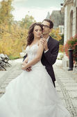 Calm and pleased wedding couple — Стоковое фото