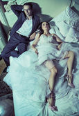 Tired wedding couple after wedding reception — Stok fotoğraf