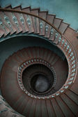 Wooden stairs in tenement house — Stock Photo