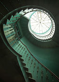 Art shot of wooden spiral stairs — Stok fotoğraf
