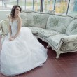 Stock Photo: Stressed bride wearing beautiful wedding gown