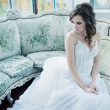 Стоковое фото: Sensual young bride after wedding reception