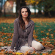 Beautiful womrelaxing in autumn park — Stock Photo #35633747