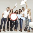 Laughing group of palls in good mood — Stock Photo