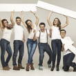 Picture presenting laughing group of friends — Foto Stock