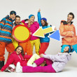 Colorful photo of the glad snowboarders — Stock fotografie