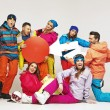 Stock Photo: Funy picture of snowboarders playing hoaxes