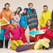 Laughing snowboarders having great time — Stock Photo