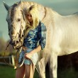 Portrait of a beauty blondie with horse — Stok fotoğraf