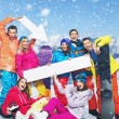 Fresh snowboarers posing in snowing day — Foto de Stock