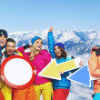 Stock Photo: Cheerful snowboarders with funy signs