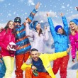 Panoramic photo of cheerful snowboarders — Stock Photo