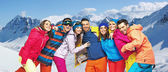Funny picture of young snowboarders — Foto Stock