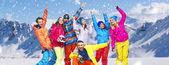 Panoramic photo of cheerful snowboarders — Stock Photo