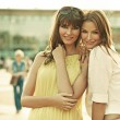 Two smiling girlfriends with summer make-up — Stok fotoğraf #38933719