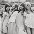 Stock Photo: Black&white photo of the cheerful girls