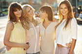 Four fantastic girls during summer afternoon — Photo