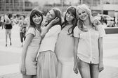 Black&white photo of the cheerful girls — Stock Photo