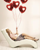 Alluring woman preparing for valentine's day — Stock Photo