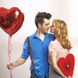 Attractive young couple during valentine's day — Stockfoto