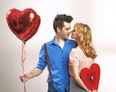 Attractive young couple during valentine's day — Foto Stock