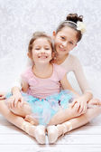 Cute sisters during ballet rehearsal — Stock Photo