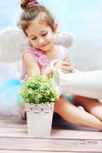 Little girl with fancy wings — Stock Photo