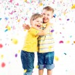 Two cute brothers enjoying colorful world — Stock Photo