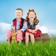 Little couple wearing national costumes — Foto Stock #41191687