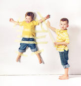Two little brothers having great fun — Stock Photo