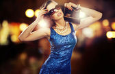 Attractive businesswoman before great party — Stok fotoğraf